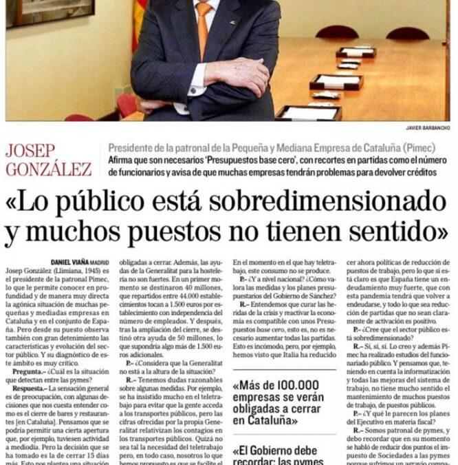 Entrevista de El Mundo al presidente de PIMEC Josep González